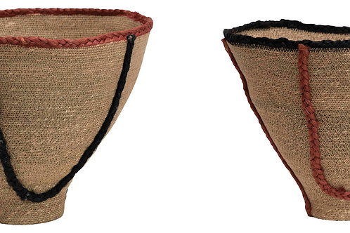 "15"" & 16"" Handwoven Natural Seagrass Baskets with Jute Trim (Set of 2 Sizes)"