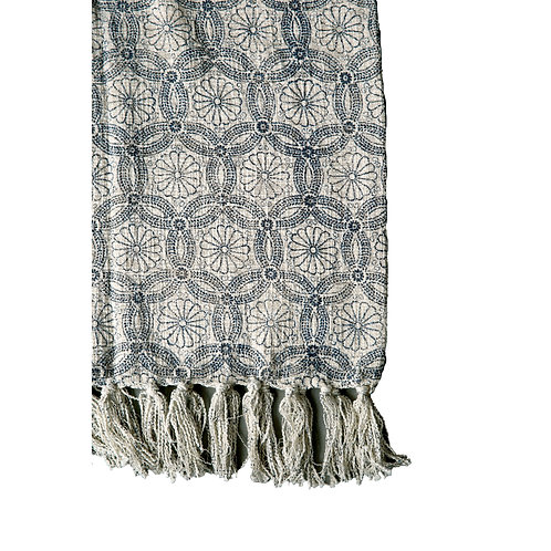 Floral Blue & Cream Cotton Print Throw with Fringe