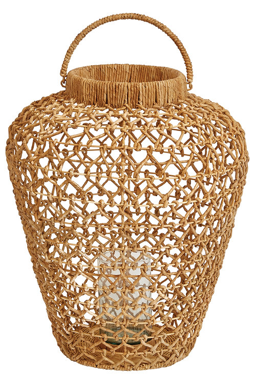 "26""H Handwoven Water Hyacinth & Rattan Lantern with Handle & Glass Insert"