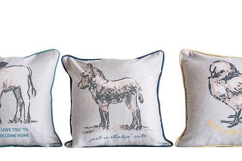 Square Cotton Farm Animal Pillow (3 styles)