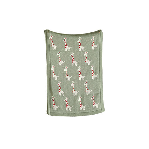 Green Cotton Knit Giraffe Blanket