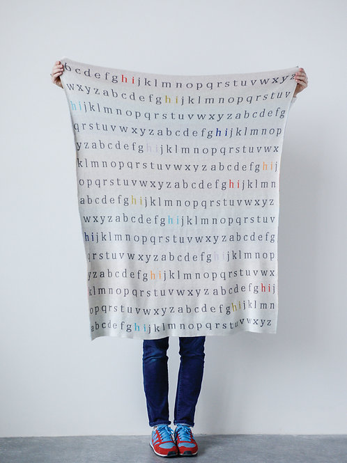 Multicolor Cotton Knit Alphabet Blanket