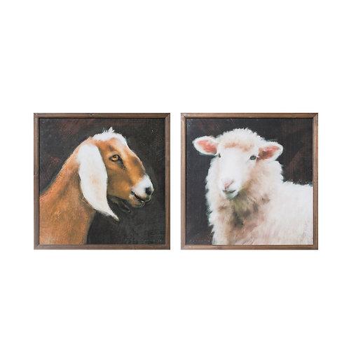 Goat & Sheep Wood Framed Wall Art (Set of 2 Styles)