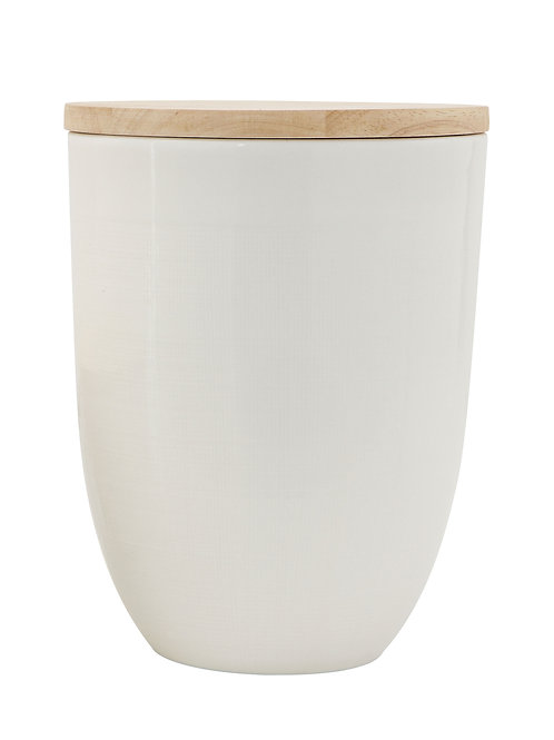 Large White Ceramic Canister with Wood Lid
