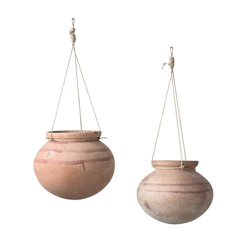Large Hanging Clay Pot with Jute Hanger (Each one will vary)