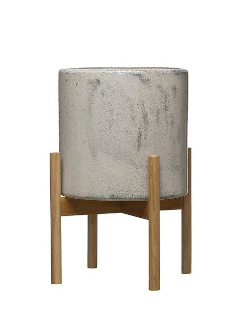 "Round Stoneware Planter on Wood Holder (Set of 2 Pieces/Holds 10"" Pot)"