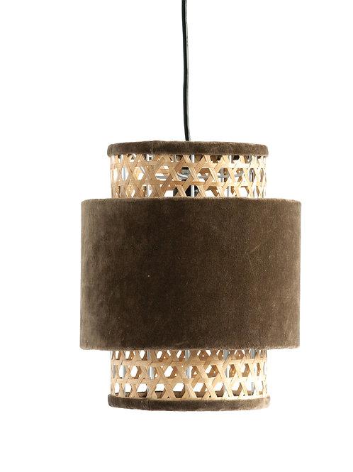 Taupe Cotton Velvet & Cane Pendant Light