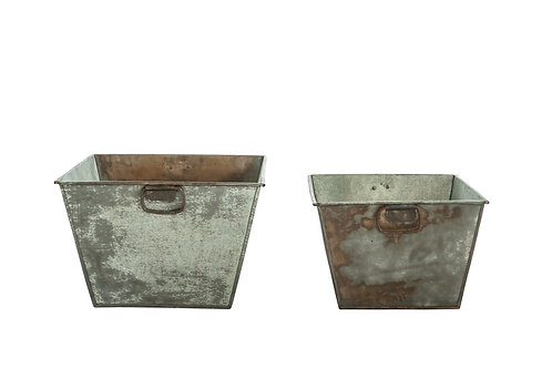 Galvanized Metal Planters with Handles (Set of 2 Sizes)