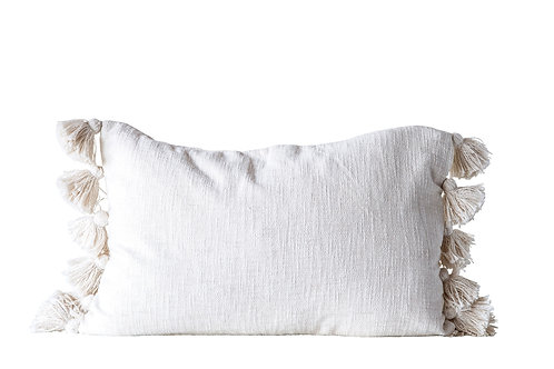 Cream Cotton Woven Slub Pillow with Plush Tassels