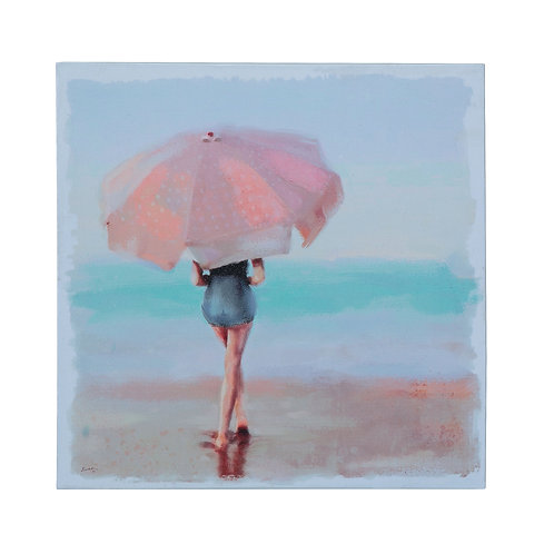 Watercolor Lady on Beach with Umbrella Canvas Wall Decor