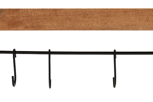 """39"""" Wood Wall Shelf with Metal Rod & 5 S-Hooks"""