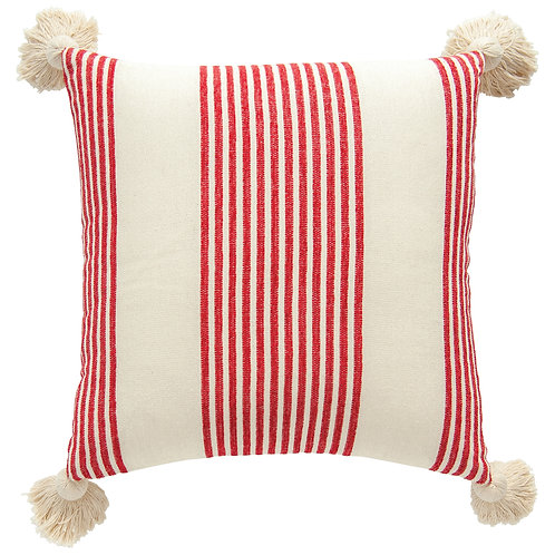 White Cotton & Chenille Woven Pillow with Raised Red Stripes & Thick Tassels