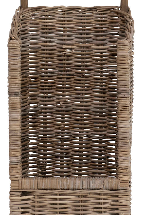 """31.5""""H Woven Rattan Basket Trolley with Caster Wheels"""