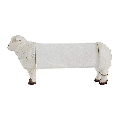 Distressed White Resin Sheep Paper Towel Holder