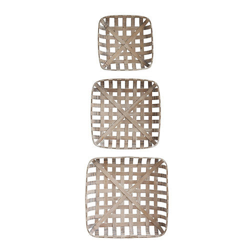 Set of 3 Square Reproduction Tobacco  Baskets