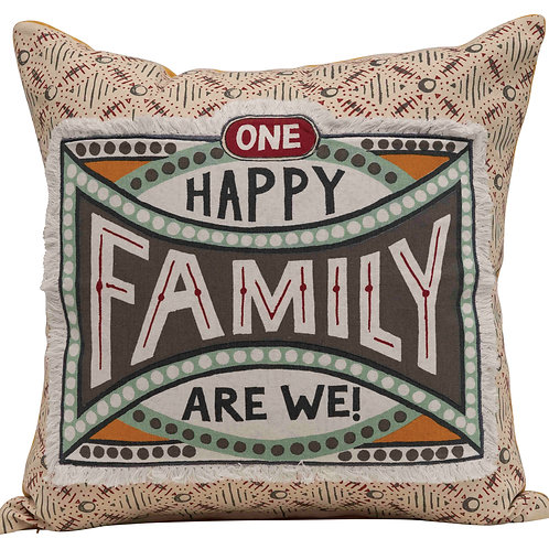 """One Happy Family Are We!"" Reversible Cotton Stamp Pillow with Solid Back"