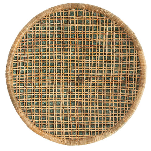 Handwoven Beige & Green Rattan Wall Decor