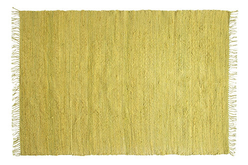 4' x 6' Chartreuse Handwoven Jute & Chenille Rug with Fringe