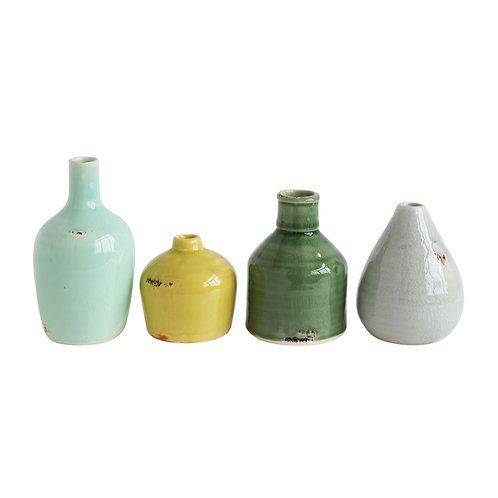 Blue, Yellow, Green & White Terracotta Vases (Set of 4 Colors/Shapes)