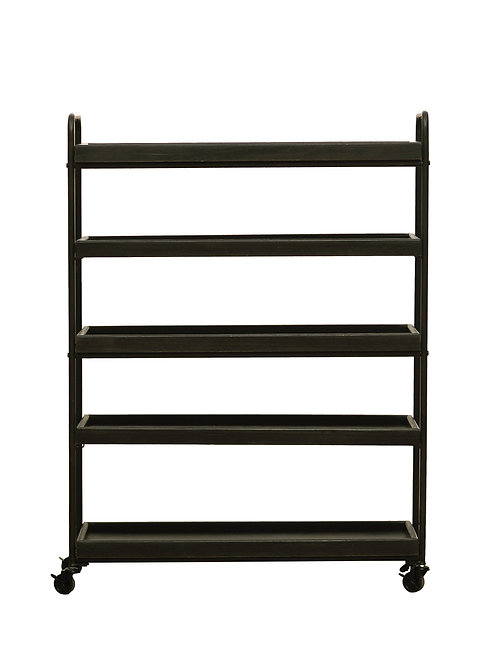 "44.25""H Wood 5-Tier Tray-Style Shelves"