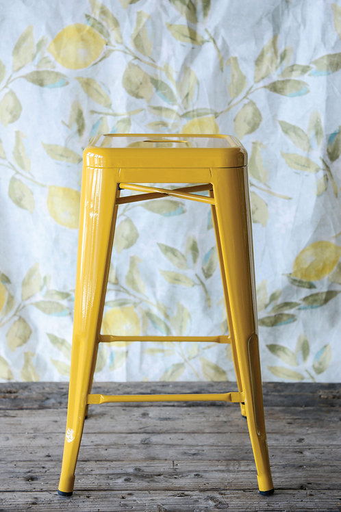 "26""H Vintage Style Yellow Metal Stool"