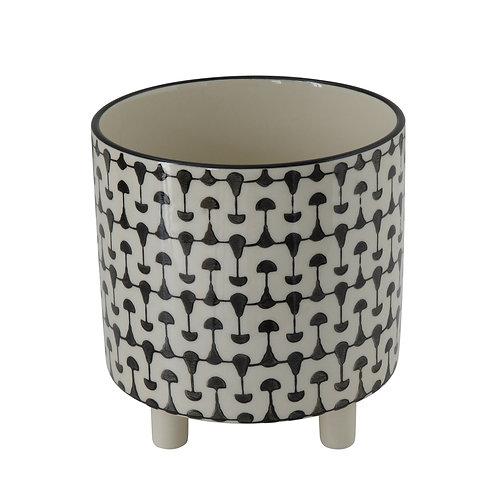 Black & White Round Stoneware Footed Planter