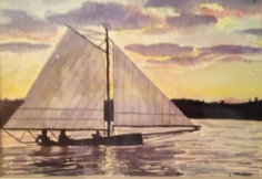 Wooden Boat Sunset Sail