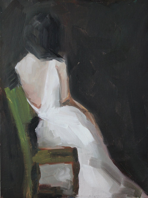 Green Chair - 12x9 - Oil on Canvas Board