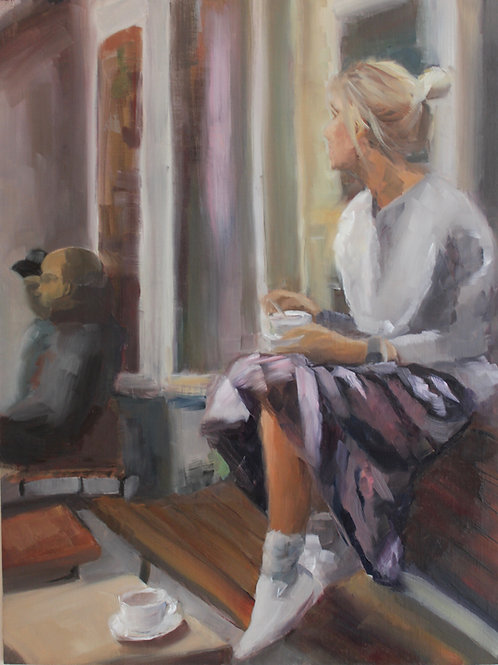 Morning Coffee - 18x14 - Oil on Canvas Board