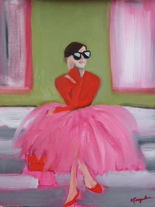 Pink Party Dress - 18x14 - Oil on Canvas Board
