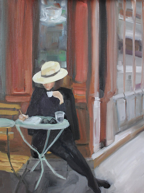 Le Chapeau - 18x14 - Oil on Canvas Board