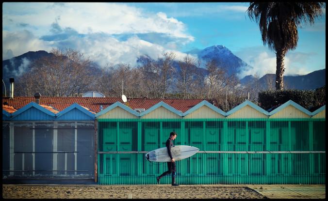 Winter Surfer. Forte Dei Marmi. Italy.
