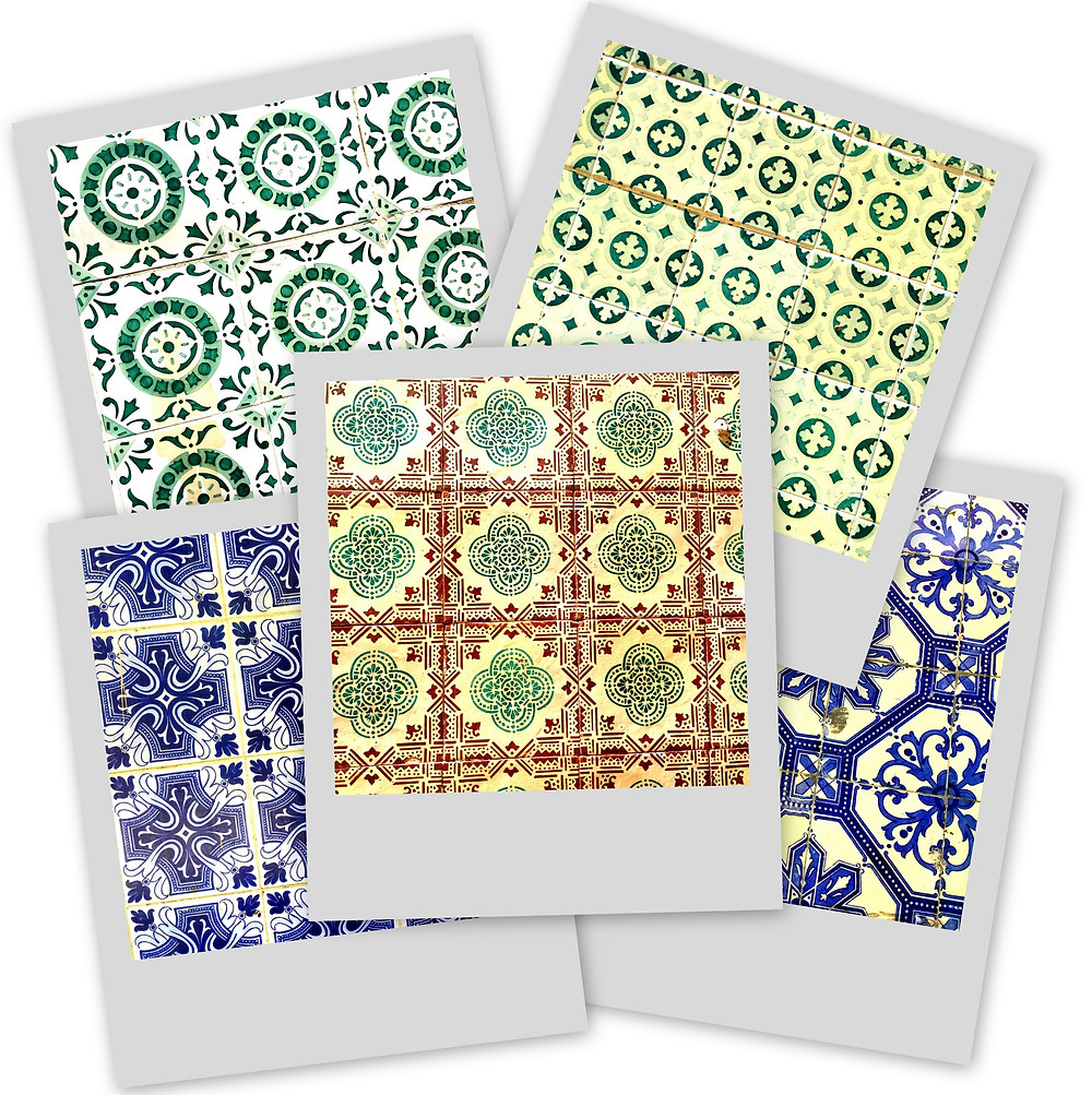 Collage of wall tiles from Bairro Alto and Chiado