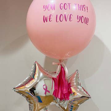 Jumbo helium balloon with tassel and custom vinyl decal and two mylar balloons with custom decals