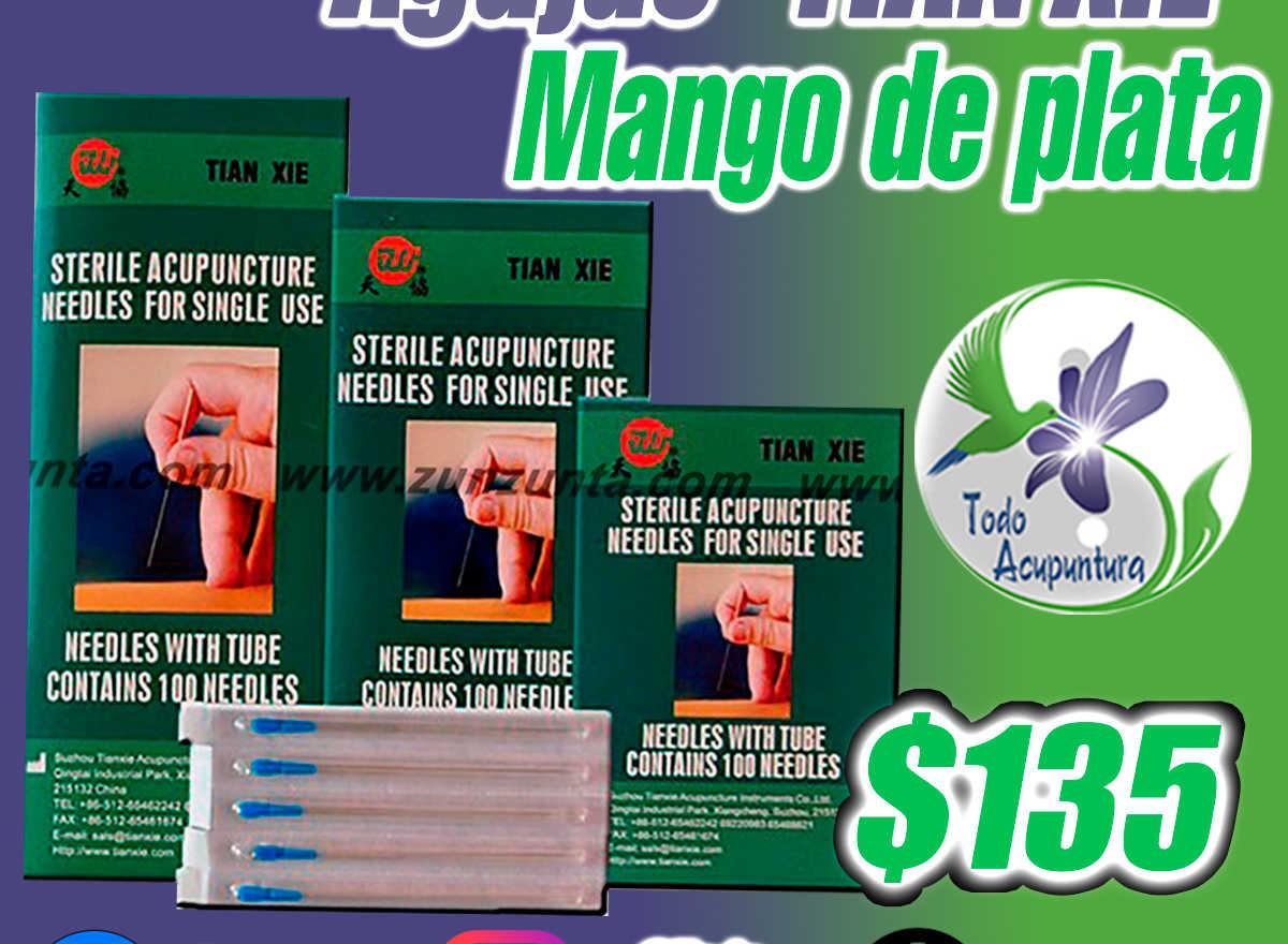 "Agujas ""TIAN XIE"" mango de Plata 100 pzs"