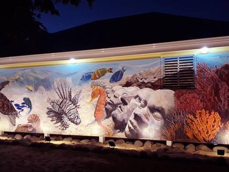 Beneath the waves - Caribbean marine life mural for Dive Grenada, Mount Cinnamon