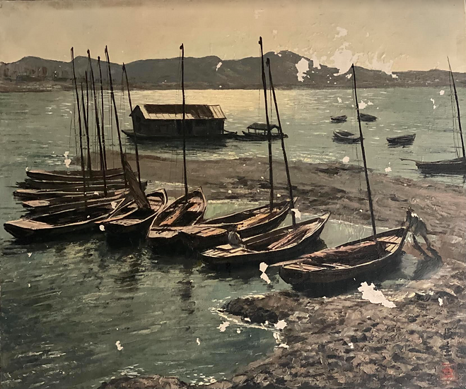 Vintage Harbor Painting