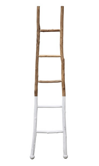 Decorative Wood Ladder, White Dipped