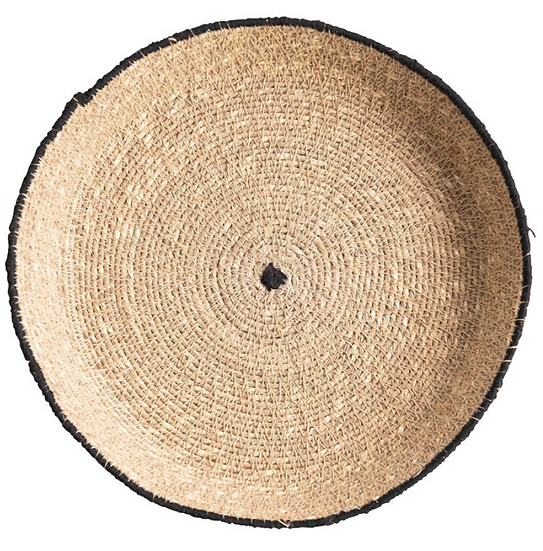 """10"""" Round Decorative Hand-Woven Natural Seagrass Tray w/ Stitched Edge, Natural"""