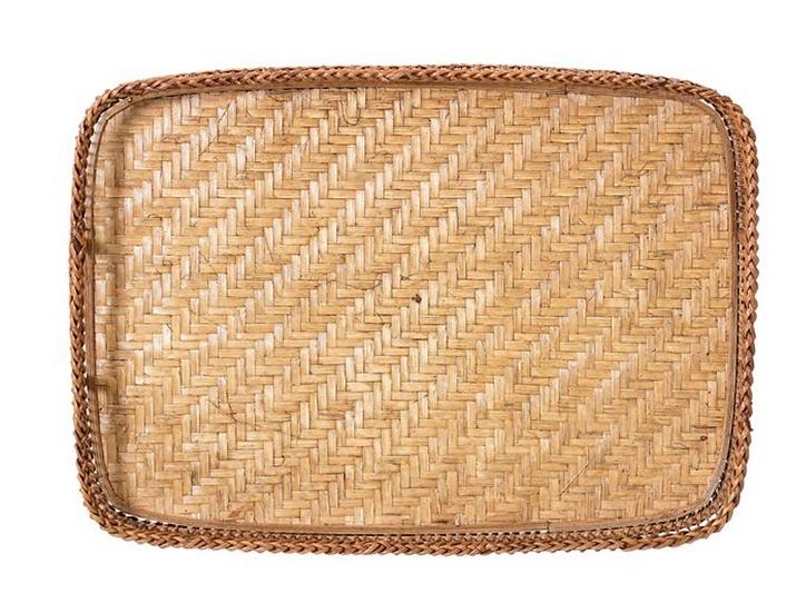 Decorative Bamboo Tray w/ Handles, Natural