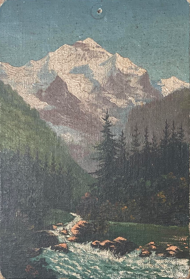 Vintage Mountain Stream Painting