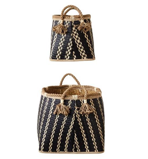 Wicker Baskets w/ Rope Handles