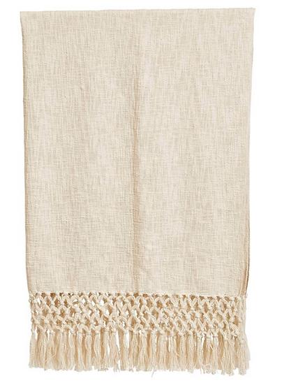 Woven Cotton Throw w/ Crochet; Fringe, Cream Color