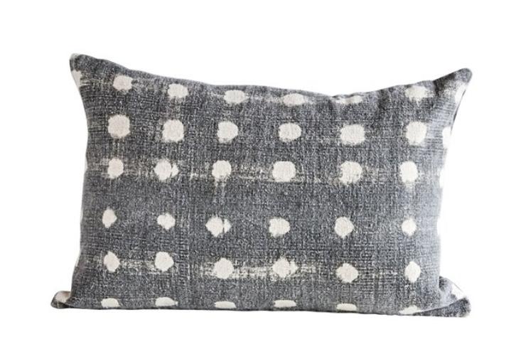 Cotton Slub Polka Dot Pillow, Charcoal