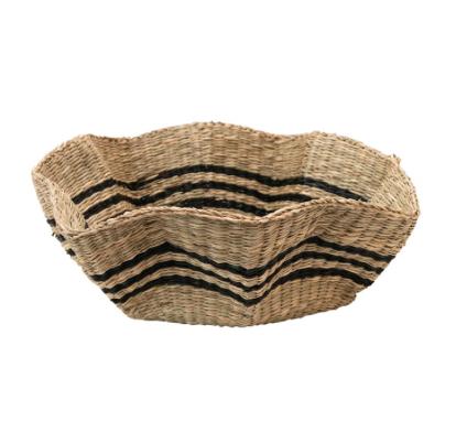Hand-Woven Scalloped Seagrass Basket w/ Black Stripes
