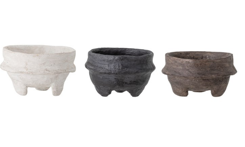 Decorative Paper Mache Footed Bowls