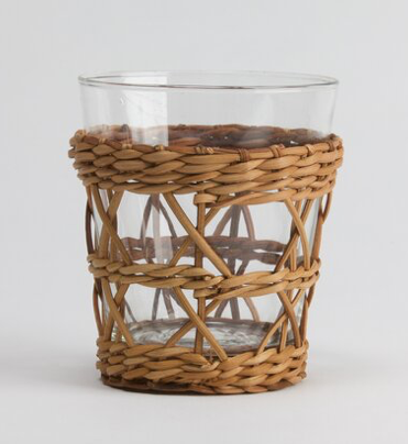Rattan Cage Wide  Tumbler Glass