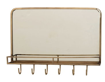 "20"" Brass Framed Wall Mirror with Shelf & Hooks"