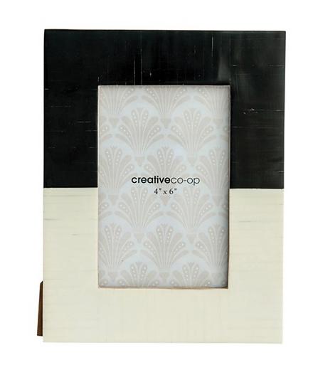 Resin Photo Frame, Black & White, 4x6