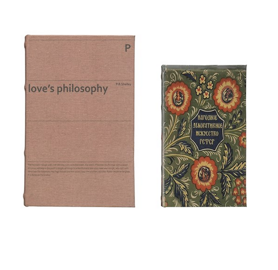 """Canvas Book Storage Boxes, Set of 2 """"Love's Philosophy"""""""